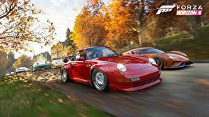 Hintergrundbilder Porsche Forza Horizon 4 Fährt Rot Regera E3 2018 Spiele Autos 3D-Grafik