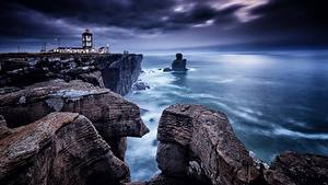 Bilder Portugal Küste Leuchtturm Felsen Cape Carvoeiro, Peniche