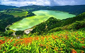 Fotos Portugal Küste Berg See Von oben Azores, Furnas Lake