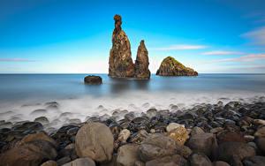 デスクトップの壁紙、、ポルトガル、海岸、石、岩石、Madeira, Ilheus da Rib、自然