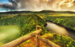 Bilder Portugal See Hügel Laubmoose HDRI Flores island Azores