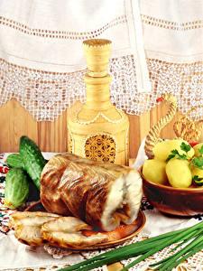 Hintergrundbilder Kartoffel Gemüse Gurke Fische - Lebensmittel Kanne Gardine Lebensmittel