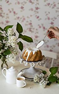 Desktop hintergrundbilder Keks Kaffee Flieder Löffel Becher Lebensmittel Blumen