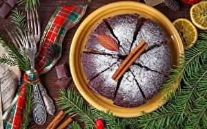 Hintergrundbilder Puderzucker Obstkuchen Zimt Teller Ast Essgabel das Essen