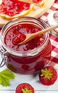 Bilder Powidl Erdbeeren Weckglas Löffel Lebensmittel