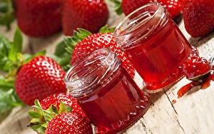 Hintergrundbilder Konfitüre Erdbeeren 2 Weckglas Lebensmittel