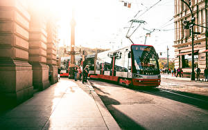 Bilder Prag Tschechische Republik Stadtstraße Asphalt Tramway