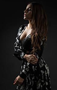 Hintergrundbilder Braune Haare Kleid Hand Dekolletee Priscila junge frau