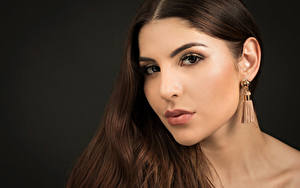 Desktop wallpapers Brown haired Makeup Glance Black background Hair Earrings Priscila Girls