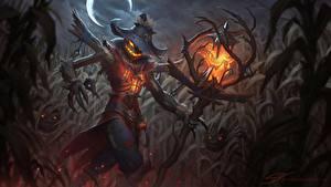 Hintergrundbilder Kürbisse Halloween Der Hut Nacht Schreckliches Magierstab Vogelscheuche Stu Harrington Fantasy