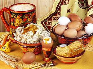 Hintergrundbilder Topfen Weißkäse Quark Hüttenkäse Honig Stillleben Ei Schüssel Lebensmittel