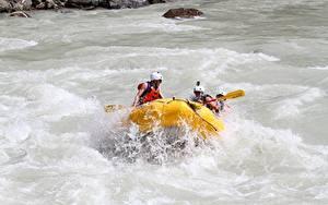 Bilder Rafting Flusse Boot Kanada Spritzwasser Helm Fraser River, British Columbia Sport