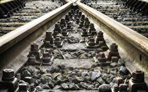 Fondos de escritorio Ferrocarril De cerca Piedra Rieles