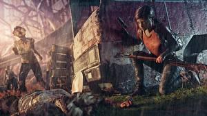 Bilder Regen Zombie Gewehr The Last of Us Kleine Mädchen ellie