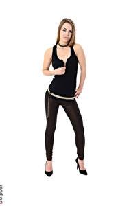 Fotos Randy Ayn iStripper Weißer hintergrund Braunhaarige Pose Hand Bein Stöckelschuh Mädchens