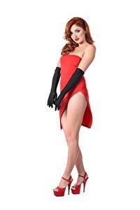Hintergrundbilder Red Fox Michelle H iStripper Weißer hintergrund Rotschopf Kleid Hand Handschuh Pose Bein Stöckelschuh junge frau