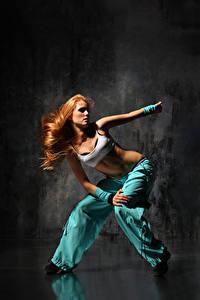 Wallpapers Redhead girl Dance Hands Girls