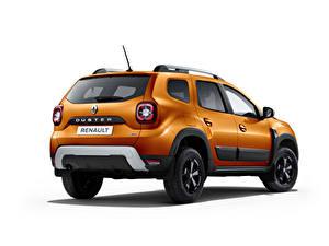Hintergrundbilder Renault Orange Metallisch Weißer hintergrund Duster, CIS-spec, 2021 Autos