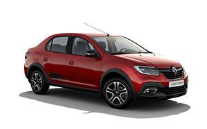 Fotos Renault Rot Metallisch Weißer hintergrund Logan Stepway City, CIS-spec, 2018 -- automobil