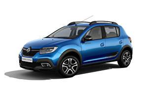 Bilder Renault Blau Metallisch Weißer hintergrund Sandero Stepway City, CIS-spec, 2018 -- auto
