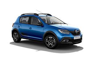 Hintergrundbilder Renault Blau Metallisch Weißer hintergrund Sandero Stepway City, CIS-spec, 2018 -- auto