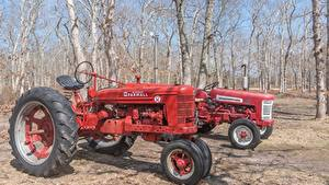 Images Retro Tractor 2 Red Trees Farmall H automobile