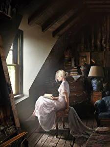 Fotos Antik Innenarchitektur Fenster Kleid Sitzend Fantasy
