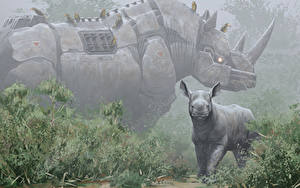 Hintergrundbilder Nashörner Jungtiere Roboter Fantasy Tiere
