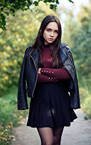 Hintergrundbilder Model Pose Rock Jacke Starren Rita, Evgeniy Bulatov junge Frauen
