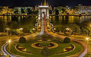 Bilder Flusse Brücken Budapest Ungarn Nacht Straßenlaterne Danube, Chain bridge