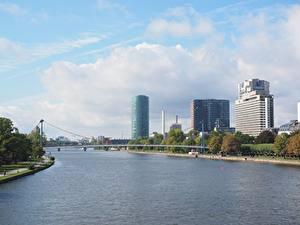 Hintergrundbilder Flusse Brücken Deutschland Frankfurt am Main Haus Main river Städte