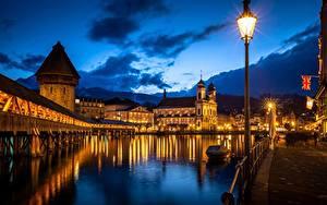 Wallpaper River Bridge Building Church Switzerland Night time Street lights Towers  Cities