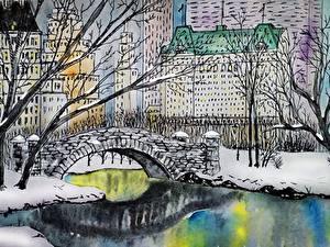 Bilder Flusse Brücke Haus Gezeichnet New York City gapstow bridge, central park