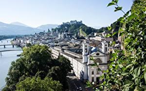 Fotos Flusse Brücken Salzburg Österreich Hügel Städte
