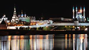 Desktop hintergrundbilder Fluss Moschee Kirchengebäude Russland Nacht Kazan, Volga, Tatarstan Städte