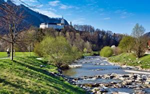 Fotos Fluss Steine Burg Deutschland Gras Bayern Castle Hohenaschau, river Prin Natur