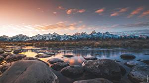 Fotos Flusse Steine Gebirge Parks USA Abend Horizont Grand Teton national Park, Wyoming