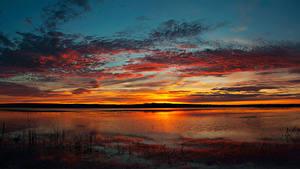Bilder Flusse Sonnenaufgänge und Sonnenuntergänge Himmel Wolke