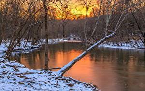 壁纸、、川、冬、森林、雪、漫画