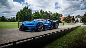 Hintergrundbilder Straße BUGATTI Blau Metallisch Vision Gran Turismo, Concept 2020 auto