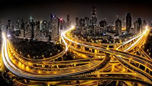 Fotos Wege China Shanghai Haus Nacht Megalopolis Straßenlaterne