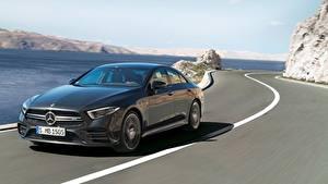 Hintergrundbilder Straße Mercedes-Benz Limousine Geschwindigkeit Schwarz AMG, CLS, 53 4MATIC, 2018