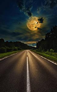 Desktop hintergrundbilder Wege Himmel Nacht Mond Wolke Natur