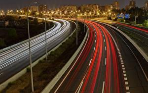 Bilder Straße Spanien Madrid Nacht Fahren Straßenlaterne M-40 Highway