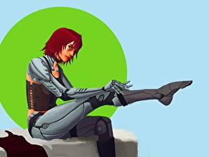 Fotos Roboter Sitzt Cyborg Fantasy Mädchens
