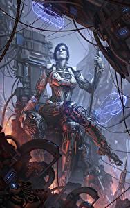 Fotos Roboter Sitzen Thron Fantasy Mädchens