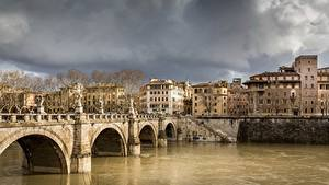 Hintergrundbilder Rom Italien Flusse Brücken Tiber Städte