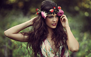 Image Roses Brown haired Hands Hair Wreath Girls
