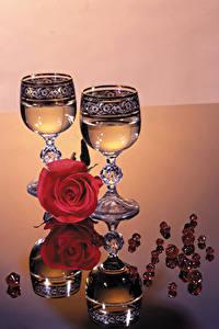 Bilder Rosen Champagner Weinglas Spiegelung Spiegelbild Lebensmittel