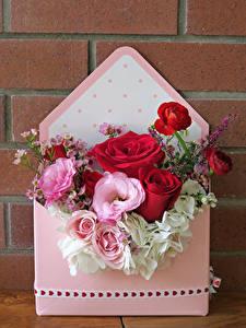 Bilder Rosen Lisianthus Hortensien Blumen